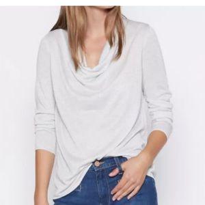 Joie Mikkeline Light Gray Silver Cowl Neck Sweater